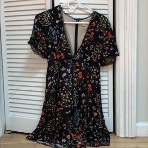 Alice and Olivia Black Floral Mini Dress